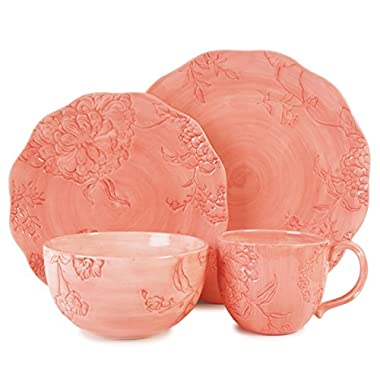 Fitz and Floyd 20-315 Hydrangea 4-Piece Dinnerware Set, Coral