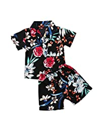 Toddler Kids Baby Boys Summer Clothes Floral T-Shirt + Shorts Pants