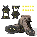 Gpeng Ice & Snow Grips Over Shoe/Boot Traction Cleat Rubber Spikes Anti Slip 10-Stud Crampons Slip-on Stretch Footwear (Large)