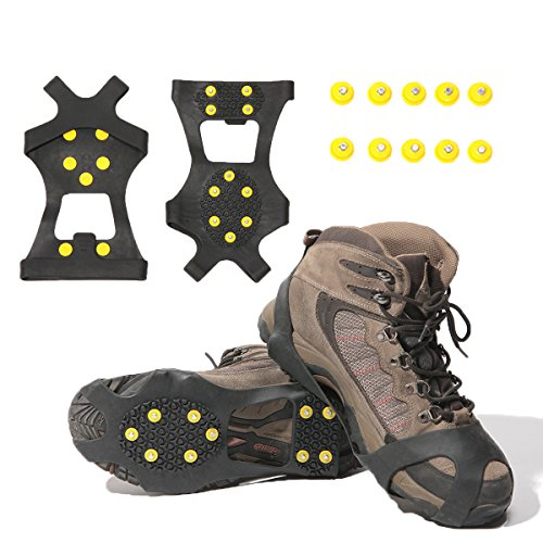 Gpeng Ice Grips Traction Cleats Ice Cleats Snow Grips Snow Cleats Crampons Snow Boots for Men and Women +10 Extra Replacement Studs(Medium)