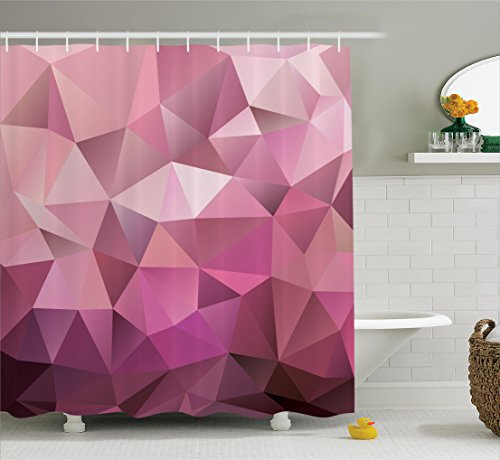 Ambesonne Abstract Shower Curtain, Triangle Style Entertainment Geometric Shapes Monochromic Illustration, Fabric Bathroom Decor Set with Hooks, 75 inches Long, Rose Dried Rose Pink by Ambesonne