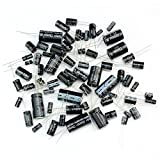Foxnovo 125pcs 25 Values Total Electrolytic Capacitors Assortment Kit Set 1uF to 2200uF (Black)