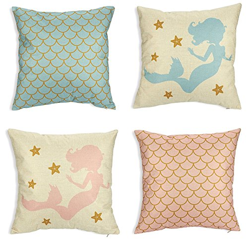 Mermaid Pillow Covers - 4-Pack Decorative Couch Throw Pillow Cases for Girls, Home, Bed Room Decoration Cushion Covers - Pastel Scallop Pattern and Mermaid Printed Design, Pink and Blue, 17 - Pillows Girls Throw Bed For
