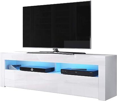 Alan - Mueble para TV (160 cm, Blanco Mate y Blanco Brillante, LED Azul): Amazon.es: Hogar