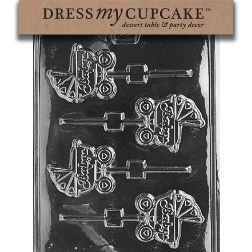 Cupcake Lollipop Mold - Dress My Cupcake Chocolate Candy Mold, Carriage Lollipop, Baby Shower