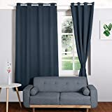 HOMFY Blackout Curtains for Bedroom, Thermal Insulated Panels Set of 2, Free 2 Ties for Pulling Back Drapes, Soft to Touch, Dust and Wrinkle Resistant (Blue, 42″x84″) Review