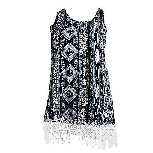 TnaIolral Fashion Womens Plus Size Casual O-Neck Ethnic Print Lace Tank Dress Mini Dress Black