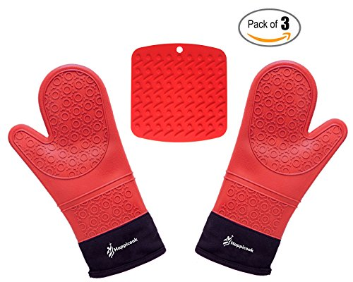 Happicook Heat Resistant Silicone Red Oven Mitts 1 Pair and Pot Holder Set