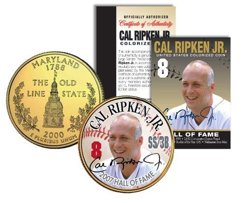 CAL RIPKEN JR *Hall of Fame* Legends Colorized Maryland Quarter Gold Plated Coin ()