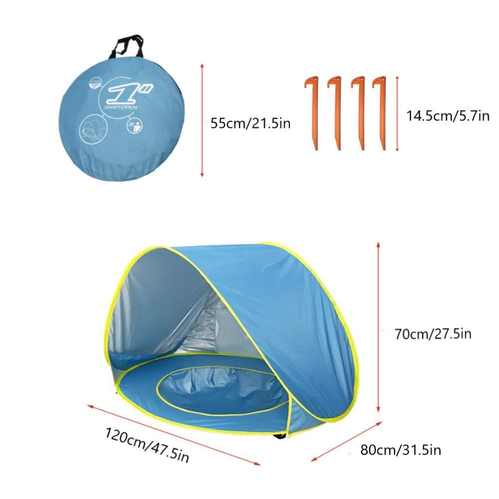 HUSAN Portable b/éb/é Tente de Plage /âg/és DE 0 Compatible avec 1 l/éger 3 ombrage UPF 50/+ 2/Enfants Tente Pop Up Kiddie Tente Abri Piscine