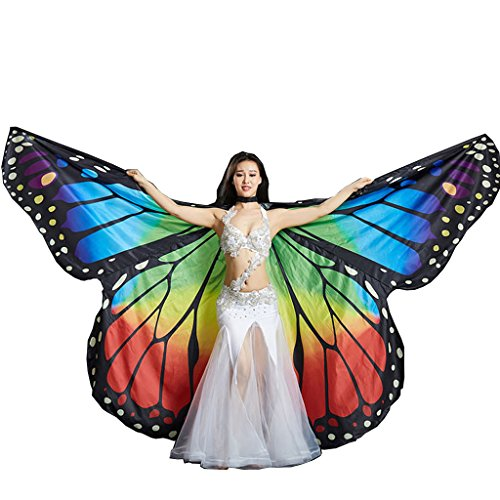 MUNAFIE Belly Dance Wings Halloween Christmas Party Colorful Butterfly Wings Performance Costumes SF1