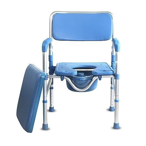 QETU Silla baño portátil de Aluminio, Altura Ajustable Antideslizante para sillas de Ducha Impermeable,