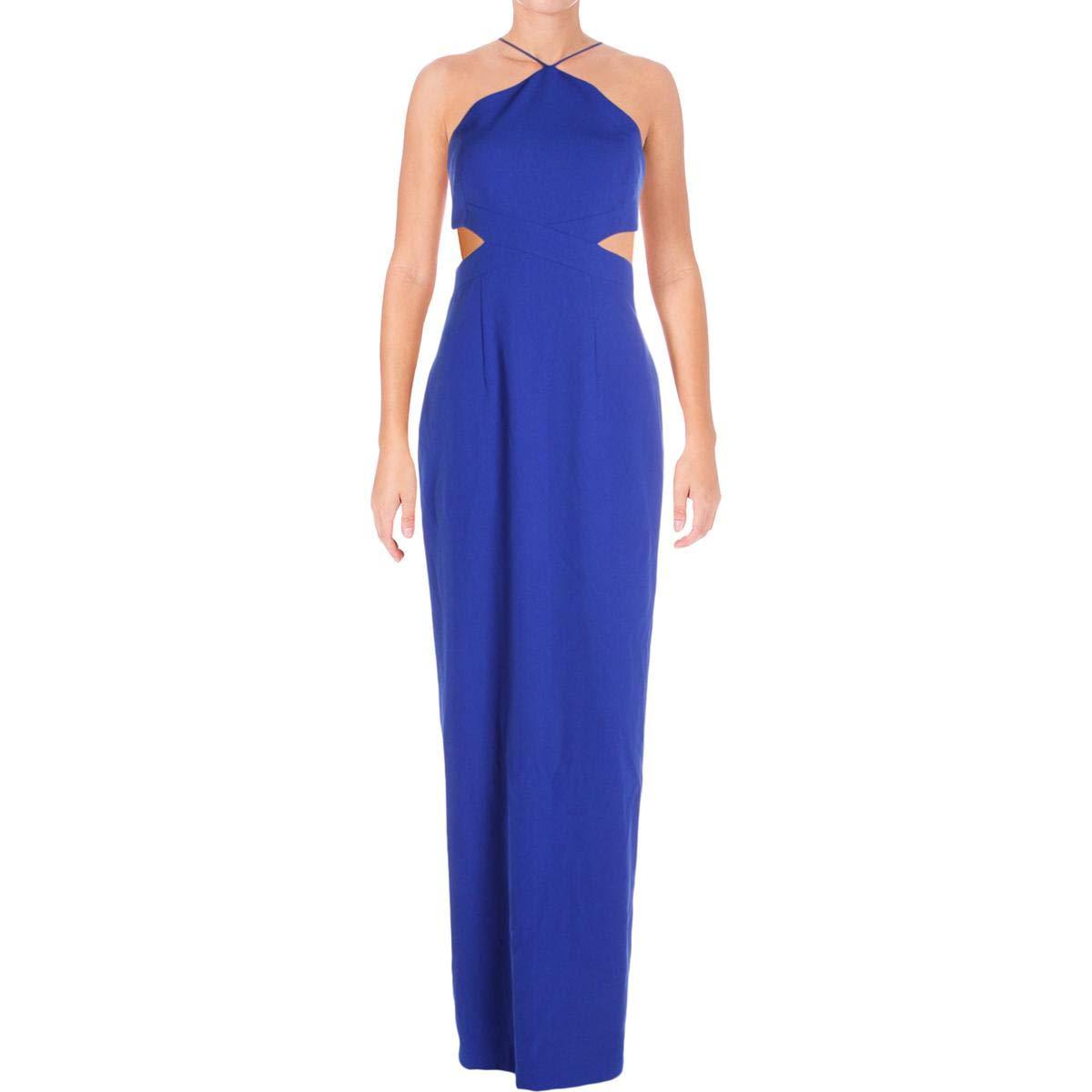 bluee Aidan Mattox Aidan Womens Halter Neckline Formal Evening Dress