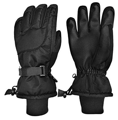 N'Ice Caps Unisex Adult 100 Gram Thinsulate Waterproof Winter Ski Mitten or Glove (Black Gloves, Women's Medium)