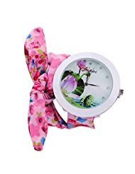 Chinatera Women Personality Flower Cloth Floral Bracelet Dress Bangle Quartz Watch (Pink)