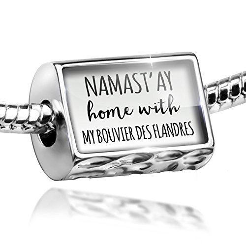 NEONBLOND Bead Namast'ay Home My Bouvier Des Flandres Simple Sayings Charm Fits All European Bracelets ()