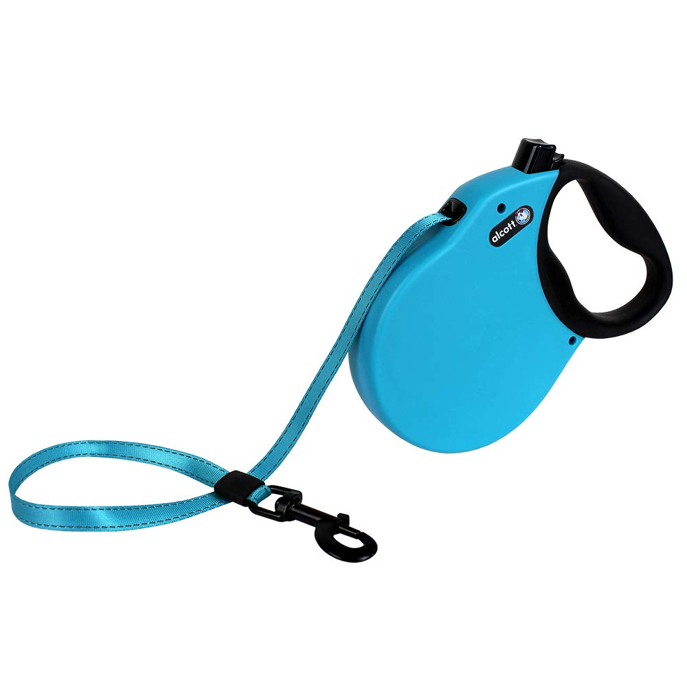 Alcott Expedition Retractable Reflective Belt Leash, 24' Long, Large for Dogs Up to 110 lbs, Blue with Black Soft Grip Handle