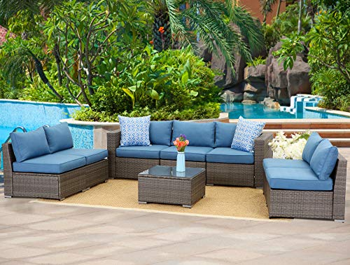 Wisteria Lane Outdoor Furniture Set 8 PCS Wicker Sectional Sofa for Garden Backyard,Modular Couch with Sophisticated Glass Coffee Table,Upgrade Blue Cushion