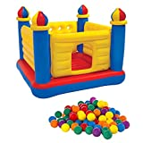 Castle Outdoor Inflation Furniture Inflatables Bouncer Holiday Colorful With 100 Plastic Play Balls Kids Children Indoor Toys Games Unisex Ages 3-6 - House Deals