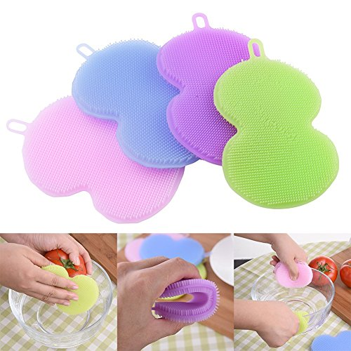 Silicone Dish Scrubber /JUMUU Silicone Scrubber Multifunctiona Kitchen Wash Tool Pot Pan Dish Bowl 100% Food Grade Soft Silicone Brush Scrubber Cleaning Cleaner (4pcs Gourd)
