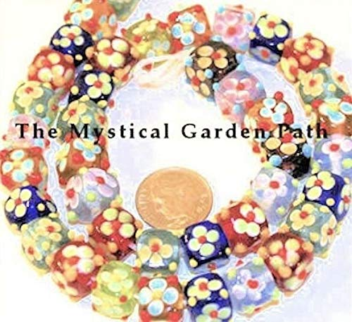 10 Lampwork Glass Multi Color Bumpy Flower Cube Beads ~ 10mm