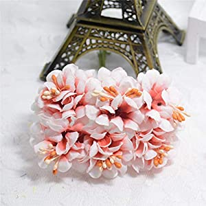 GSD2FF 6pcs Silk Gradient Stamen Artificial Flower Bouquet for Wedding Decoration DIY Decorative Wreath Fake Flowers,Red 60
