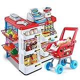 ZaiQu Children's Toys Simulation Game Large Supermarket Cash Register Toy Girl Hand Push Shopping Cart Set Birthday Gift Early Education Educational Toys