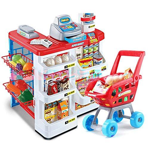 ZaiQu Juguetes para niños Juego de simulación Supermercado Grande Caja registradora Juguete Chica Mano Empuje Carro de la...