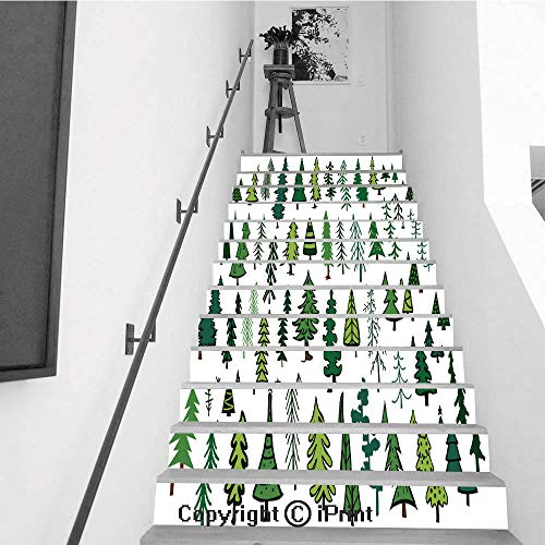 Stair Stickers Wall Stickers,13 PCS Self-Adhesive,Stair Riser Decal for Living Room, Hall, Kids Room,Cute Abstract Conifer Evergreen Pine fir Christmas Needle Trees Collection