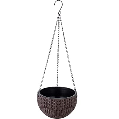 PLAFUETO Self-Watering Hanging Planter for Indoor-Outdoor Dual-Pots Design Hanging Basket Planters Wicker Design Plant Basket with Chain with Drainage Hole for Home, Garden, Patio (Brown, M): Garden & Outdoor
