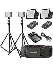 Neewer 2-Paquetes 160 LED Luz Regulable Ultra Alto Voltaje Panel Kit de Cámara Digital/Videocámara para Canon, Nikon, Sony y Otras Cámaras Digitales SLR