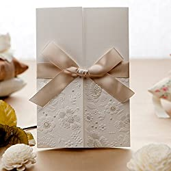 Doris Home wedding invitations wedding invites invitations cards wedding invitations kit 100pcs Vintage Embossed Tri-fold Wedding Invitation with Lace Bowknot,W1113