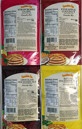 Hawaiian Sun Tropical Pancake Lovers Bundle Set - 3 Strawberry Guava, 3 Banana Macadamia, 3 Chocolate Macadamia, 3 Pineapple Coconut 12 Pancake Mixes Total Plus Coconut, Lilikoi and Guava Syrups. by Hawaiian Sun (Image #5)