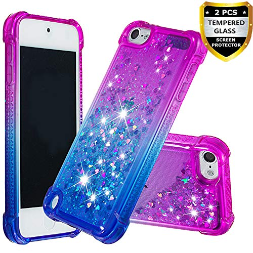 iPod Touch 6 Case with Tempered Glass Screen Protector [2 Pack] for Kid Girls, AUMIAU Glitter Liquid Quicksand Clear Cute Shockproof Cases Cover for iPod Touch 5 6th Generation Purple/Blue (Ipod Touch Covers For Kids)