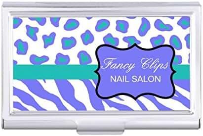 Lavender Turquoise Blue White Zebra Leopard Skin Card Holder
