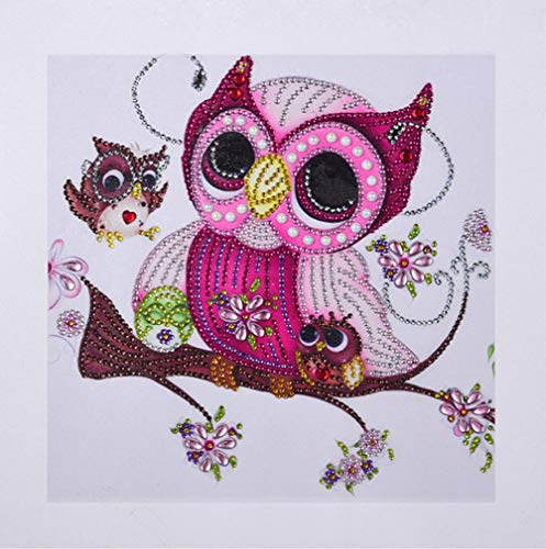 Diamond Painting DIY 5D Special Shape Rhinestones, ABEUTY Lovely Owl Family On The Tree, Partial Drill Crystal Diamond Dotz Kits