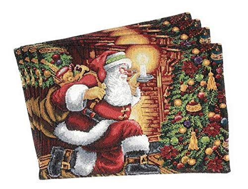- Tache Christmas Holiday Santa Down the Chimney Festive Woven Tapestry Placemats Set of 4