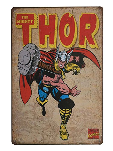 "Uniquelover Superhero The Mighty Thor Marvel Comics Distressed Retro Vintage Metal Tin Sign Wall Decor 12"" X 8"" Inches"