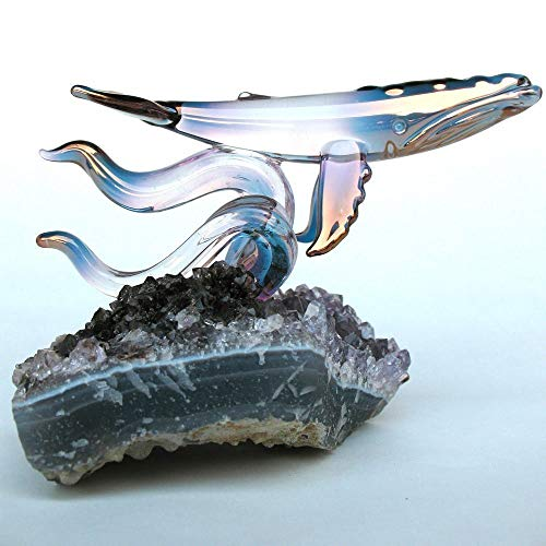 Whale Figurine of Hand Blown Glass on Amethyst Crystals