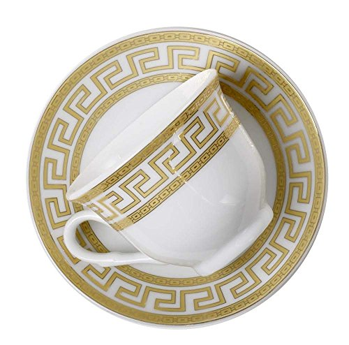 Euro Porcelain 12-Pc. 'Golden Greek Key' Tea Cup Coffee Set, Premium Bone China, 24K Gold-Plated, Complete Service for 6