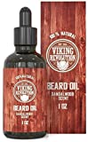 Beard Oil Conditioner - All Natural Sandalwood Scent with Organic Argan & Jojoba Oils - Softens & Strengthens Beards and Mustaches for Men (Sandalwood, 1 Pack) Viking Revolution