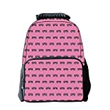 iPrint Diversified Style Schoolbag,Pink,Retro Vintage House Club Party 70s 80s Inspired Fancy Singer Sun Glasses Image,Pink and Black,for Students,Pictures Print Design