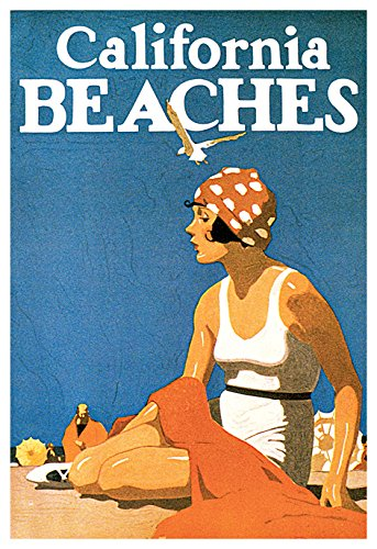 California Beaches Poster, Vintage California Travel Poster