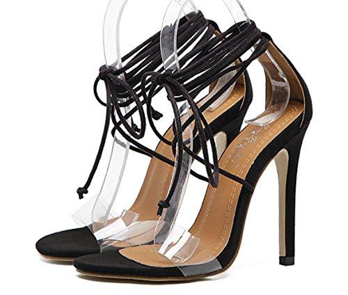 YCMDM Donna Sandali piede ad anello LaceOpen Toe Slope Fiore piattaforma Hollow con tacchi alti punta aperta , black , 40