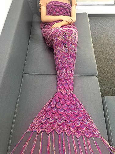 Mermaid Tail Sofa Blanket Super Soft Warm Hand Crocheted Knitting Wool For Adult ()