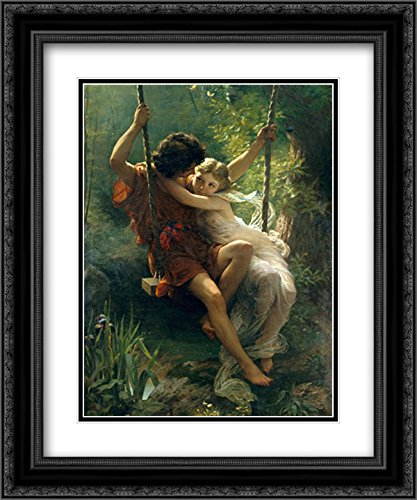 (Le Printemps 2X Matted 15x18 Black Ornate Framed Art Print by Pierre Auguste Cot)