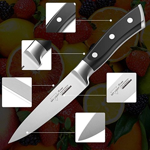 Paring Knife Fruit Knife Peeling Knife,4 Inch German HC Stainless Steel Sharp Blade with Non Slip Ergonomic Handle by SKY LIGHT (Image #1)