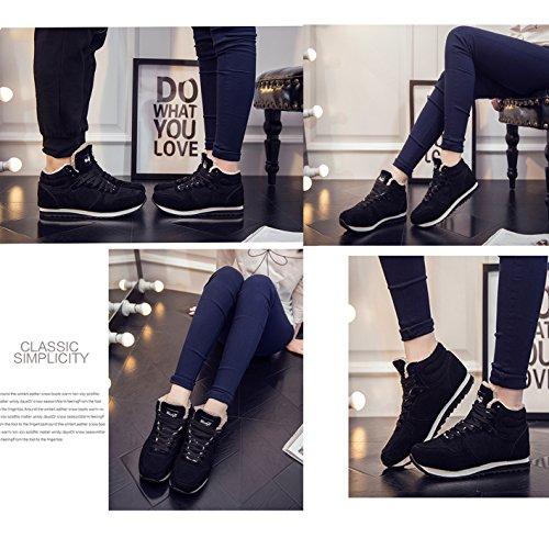 Gaorui Plus Size Uomo Peluche Inverno Caldo Allacciato Alto Top Casual Scarpe Sneaker Stivaletto Nero