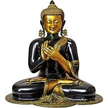 CraftVatika 18 Inches Large Dharmachakra Buddha Statue -Tibetan Buddhism Antique Finish Brass Sculpture Religious Decor Peace Harmony figurine