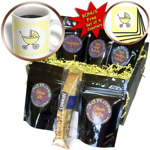 Janna Salak Designs Baby - Yellow and Green Baby Carriage Design - Coffee Gift Baskets - Coffee Gift Basket (cgb_6139_1)
